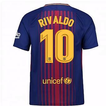 2017-2018 Barcelona Home Shirt (Rivaldo 10)