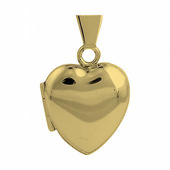 18ct Gold 17x16mm plain heart shaped Locket