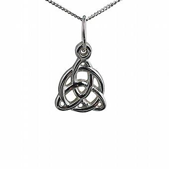 Silver 19x18mm Celtic Trinity knot design Pendant with a curb Chain 24inches