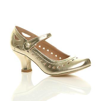 Ajvani Womens Mitte Kätzchen Mary Jane Fersenriemen arbeiten klassisch Vintage Herz Gericht Schuhe pumpt Ausschneiden