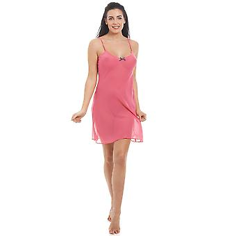 Camille Womens Coral rosado do Chiffon Chemise & Set Wrap