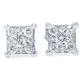 1 / 2ct Prinzessin Schnitt Diamant Cluster Ohrstecker 14K White Gold