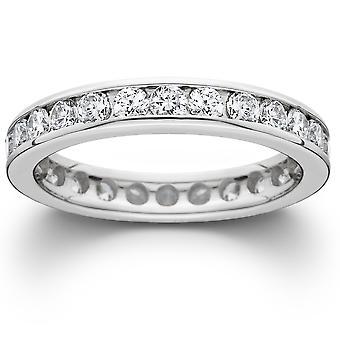 1 1/2ct ערוץ סט יהלומים הנצח טבעת 14K זהב לבן