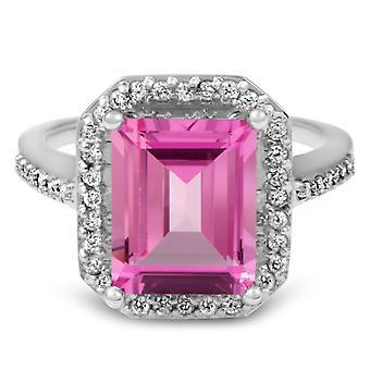 4 1/2 Pink topas & Diamond Vintage Halo Engagement Ring hvidguld