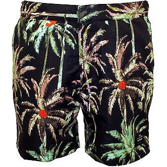 "Scotch & Soda Allover Palm Print ""Pool Side"" Swim Shorts, Black/green"
