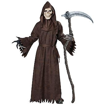 Ancient Grim Reaper Skull Skeleton Ghoul Robe Horror Halloween Mens Costume