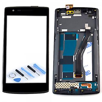 Display LCD complete unit with frame for ONEPLUS one 1 + A0001 black