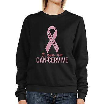 Jeg du vi kan-Cervive Cute Pink Ribbon Sweatshirt For Cancer Support