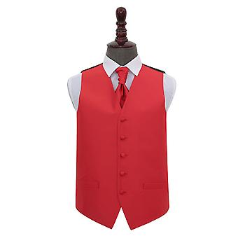 Red Solid Check Wedding Waistcoat & Cravat Set