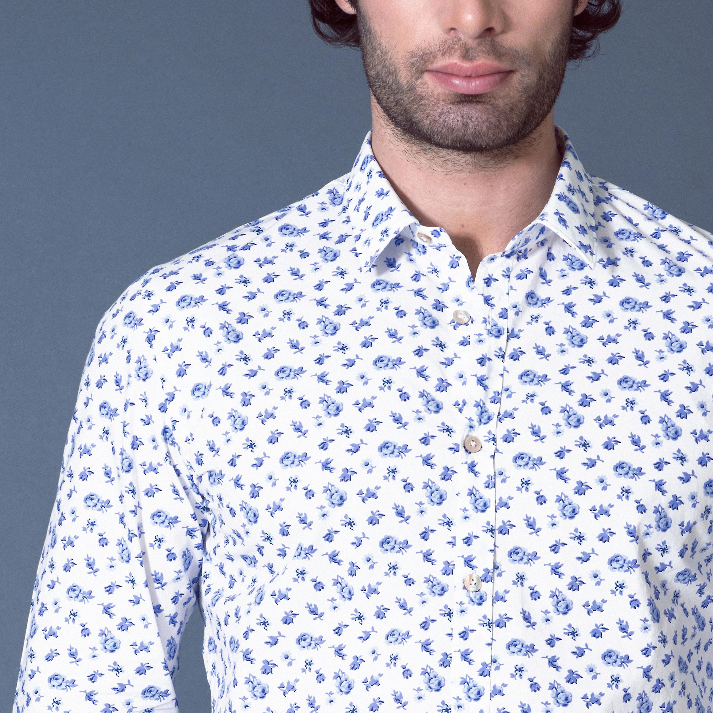 Fabio Giovanni Lorenzo Shirt - Mens Italian Casual Stylish Floral Shirt - Long Sleeve