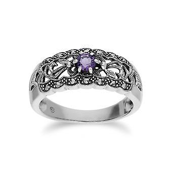 Стерлингового серебра аметист Gemondo & марказит Art Nouveau кольцо
