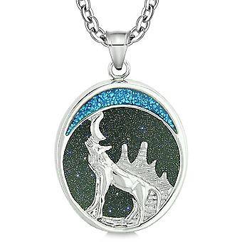 Heulender Wolf und wilden Wäldern Moon Schutz Befugnisse Amulett blau Goldstone Porzellananhänger 18 Zoll