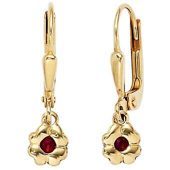 Kinder Ohrringe BLUME 333 Gold Gelbgold 2 rote Rubine Mädchenohrringe Ohrhänger