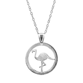 Anchor & Crew Standing Flamingo Disc Paradise Silver Necklace Pendant