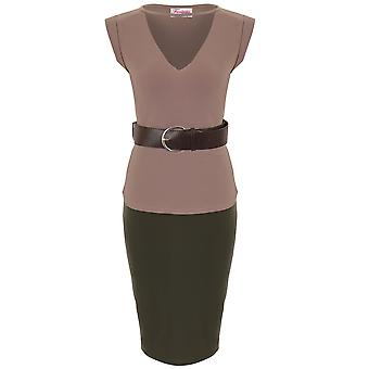 Ladies Celeb Kim Cut Out V Neck Belted Top Bodycon Pencil Skirt 2 Piece CoOrd