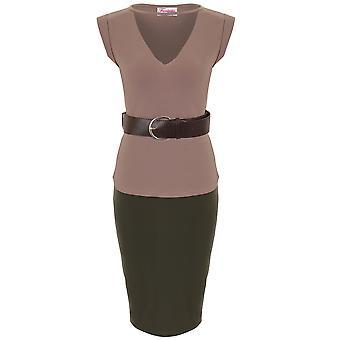 Дамы Celeb Ким вырезать V шеи опоясанный Топ Bodycon карандаш юбка 2 шт коорд