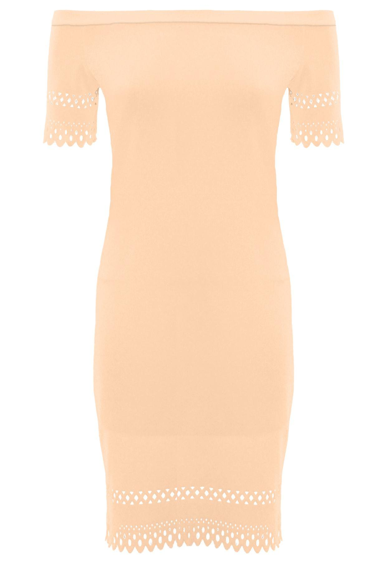 Ladies Off Shoulder Crepe Cut Out Scallop Hem Knee Length Neon Bodycon Dress