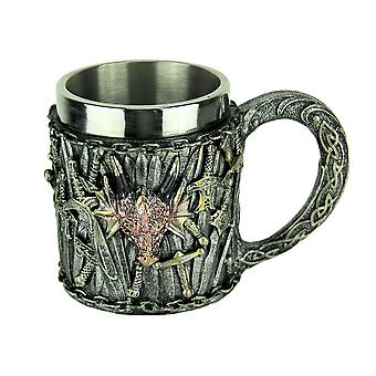 SIlver Sword Red Dragon Head Mug with Stainless Steel Liner