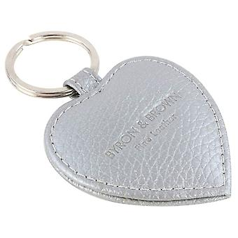 Byron and Brown Roma Leather Small Heart Key Ring - Silver