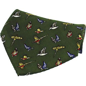 David Van Hagen Country Birds Silk Pocket Square - Green