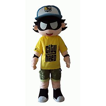 mascot SPOTSOUND of child of superheroes with a blindfold