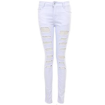 Ladies dentelle Mesh Insert arraché fente en détresse tailladé Slim équipée Jeans Skinny