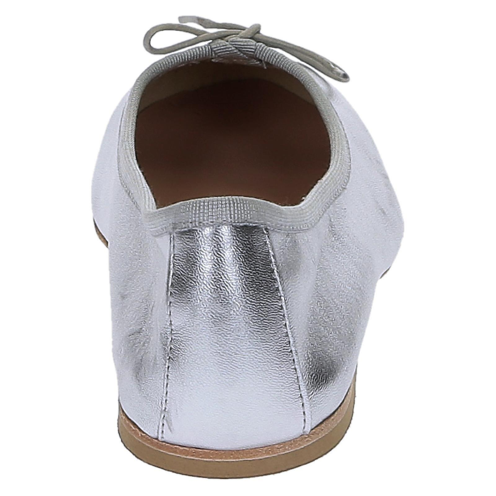Silver laminated soft leather ballet flats ballerinas shoes