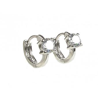 Cavendish French Tiny CZ Solitaire Sterling Silver Hoop Earrings