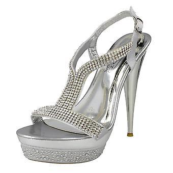 Ladies flekk på Diamante plattform sandaler F10046