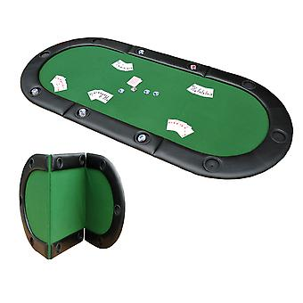 """HOMCOM 200cmx90cm/79""""x36"""" Classic 3 Folding Poker Table Foldable Poker Top 10 Seater Players Blackjack Table with Drink Holders Carry Bag"""