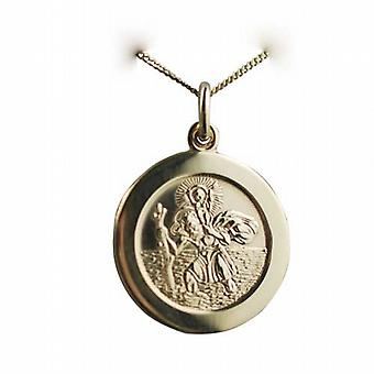 18ct Gold 21mm round St Christopher Pendant with car boat train plane on back with a curb Chain 20 inches