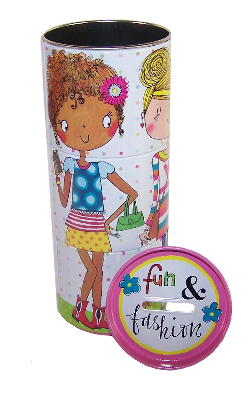Girls fun colourful tin money box
