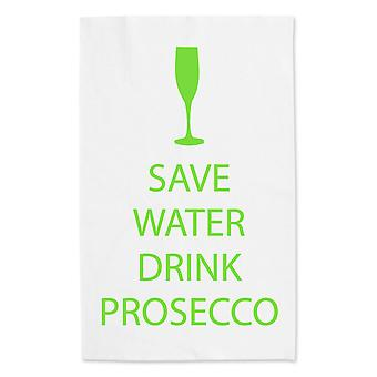 Save Water Drink Prosecco White Tea Towel Green Text