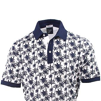 Tresanti Palm Tree Print Men's Polo Short Sleeve Cotton Shirt
