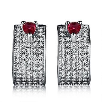 925 Sterling Zilver Pave Ruby dikke Hoop Earrings Hoop Earrings