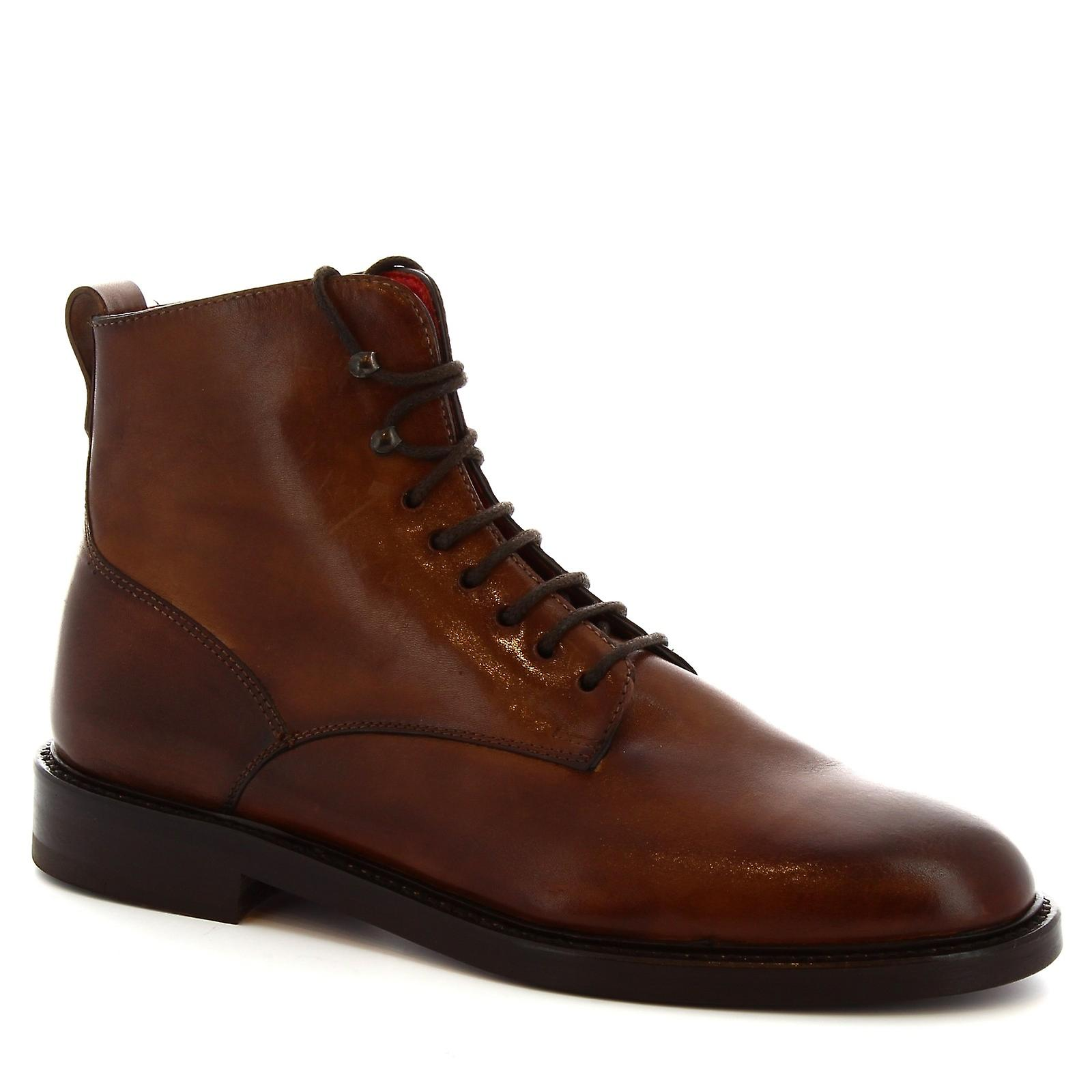 Leonardo Shoes Women's handmade laced up boots in brandy calf leather sGice
