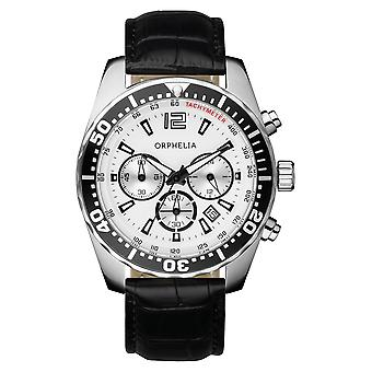 ORPHELIA Mens Chronograph Watch intens zwart leer 153-6900-14