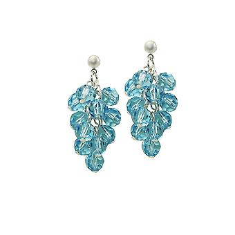 Eternal Collection Frivolity Aquamarine Crystal Cluster Silver Tone Drop Pierced Earrings