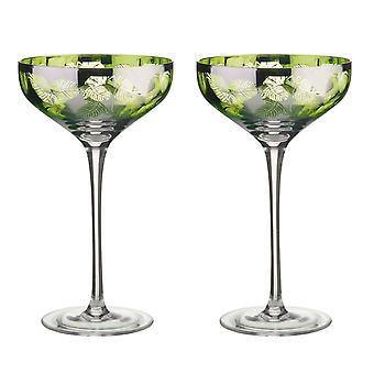 Artland Tropical Leaves set van 2 Champagne schotels