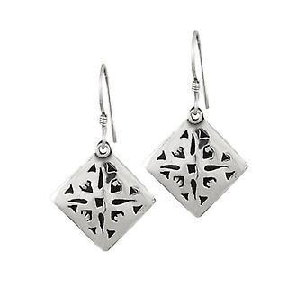 Eternal Collection Etched Sterling Silver Drop Pierced Earrings