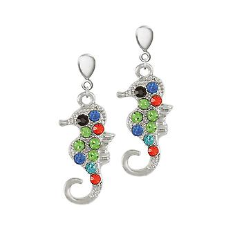 Eternal Collection Serena The Seahorse Multi Crystal Silver Tone Drop Clip On Earrings