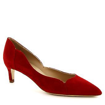 أحذية ليوناردو المرأة اليدوية الكعب المنخفض مضخات الأحذية في جلد الغزال الأحمر