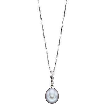 Elements Gold Pearl and Diamond Pendant - Grey/Silver
