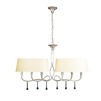 Mantra Paola Pendant 2 Arm 6 Light E14, Silver Painted With Cream Shades & Black Glass Droplets