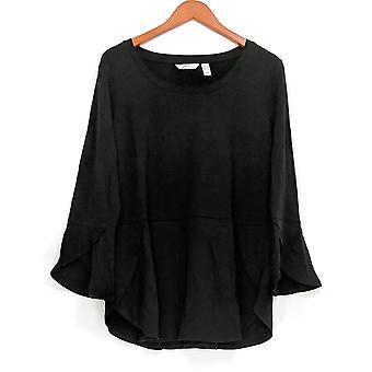 Isaac Mizrahi Live! Vrouwen ' s top peplum w/Tulip hem & mouwen zwart A308014