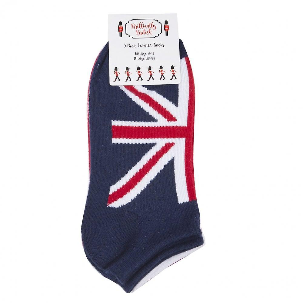 Union Jack Wear Ladies 3pk Union Jack Traniner Socks
