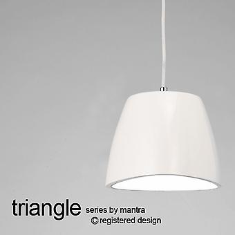 Mantra Triangle 220 Small Pendant Light In Gloss White