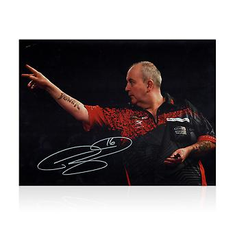 Phil Taylor-fléchettes Photo signée : 2018 World Darts Championnats