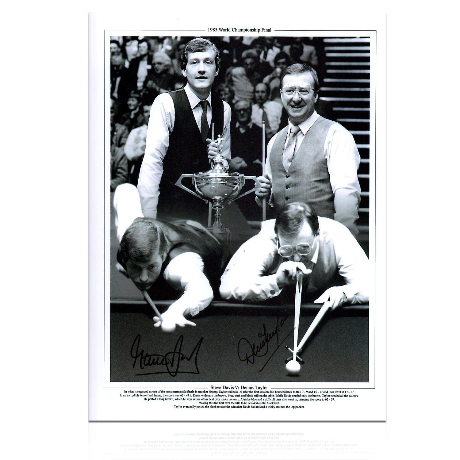 Signed Steve Davis And Dennis Taylor Snooker Photo: 1985 World Championship In Gift Box