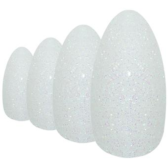Falske negler av bling kunst white gel mandel stiletto 24 falske lenge akryl tips
